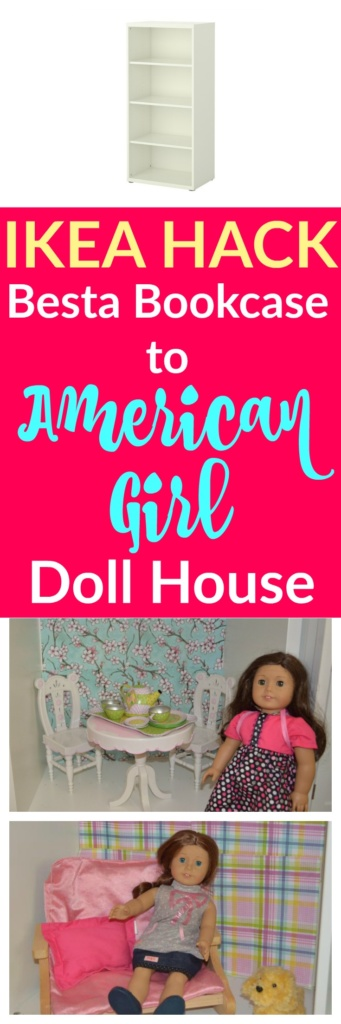 This Ikea Hack from a Besta Bookcase to an American Girl Dollhouse is amazing!