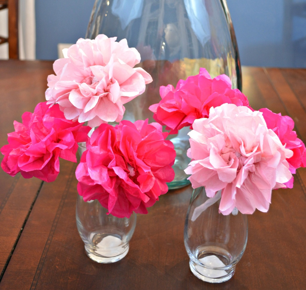 Spring Centerpiece with Tissue Paper Blossoms