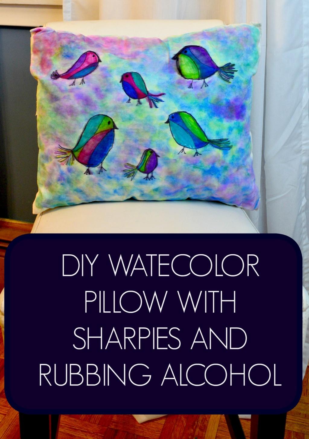 DIY Watercolor Sharpie Pillow