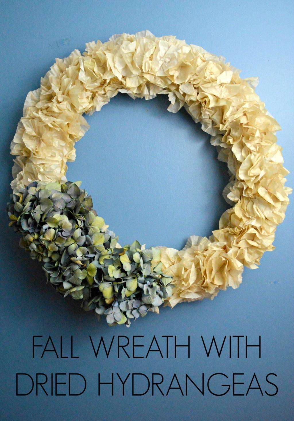 Fall Wreath with Dried Hydrangeas