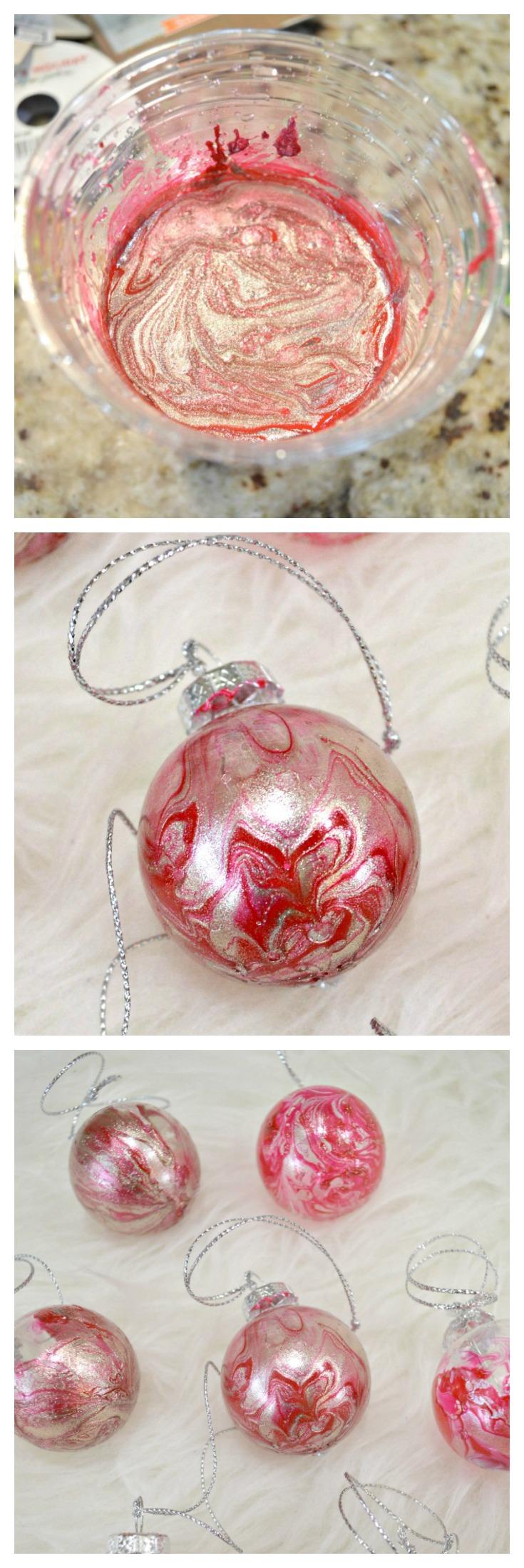 DIY Marbled Christmas Ornaments