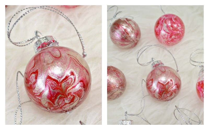 DIY Marbled Christmas Ornaments