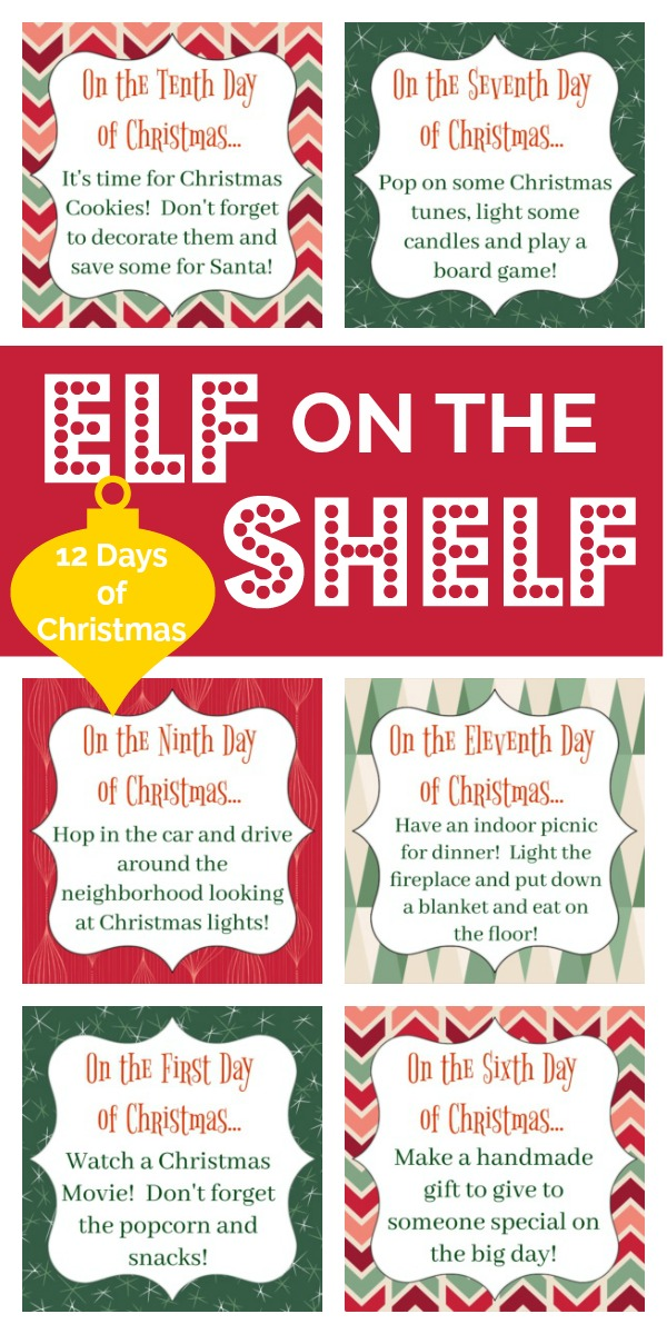 Celebrate the 12 Days of Christmas with the Elf on the Shelf! My Elf made twelve cute printables with twelve different fun and festive activites to get you ready for Christmas!