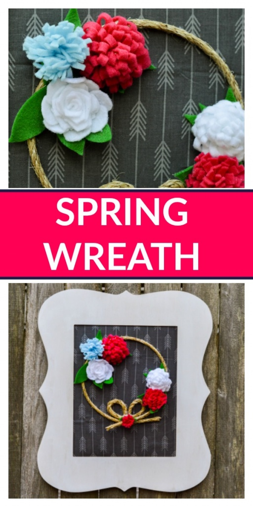 Adorable Spring Front Door Wreath with Simple Felt Flowers. You can make this!