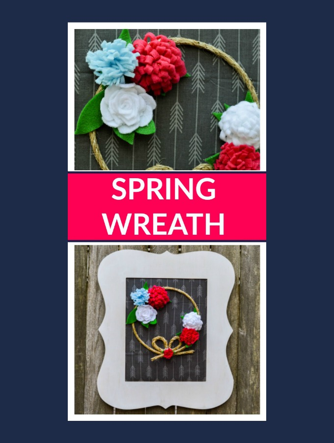 Pretty Front Door Wreath with Simple Felt Flowers