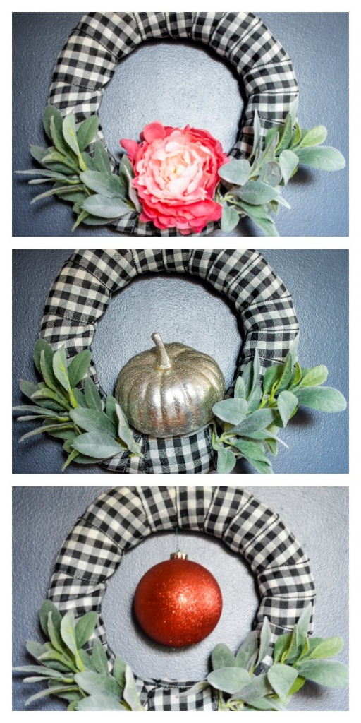 One DIY Wreath, 3 Ways. This is the only wreath you ever need. Click through for the secret ingredient that will make this so simple!