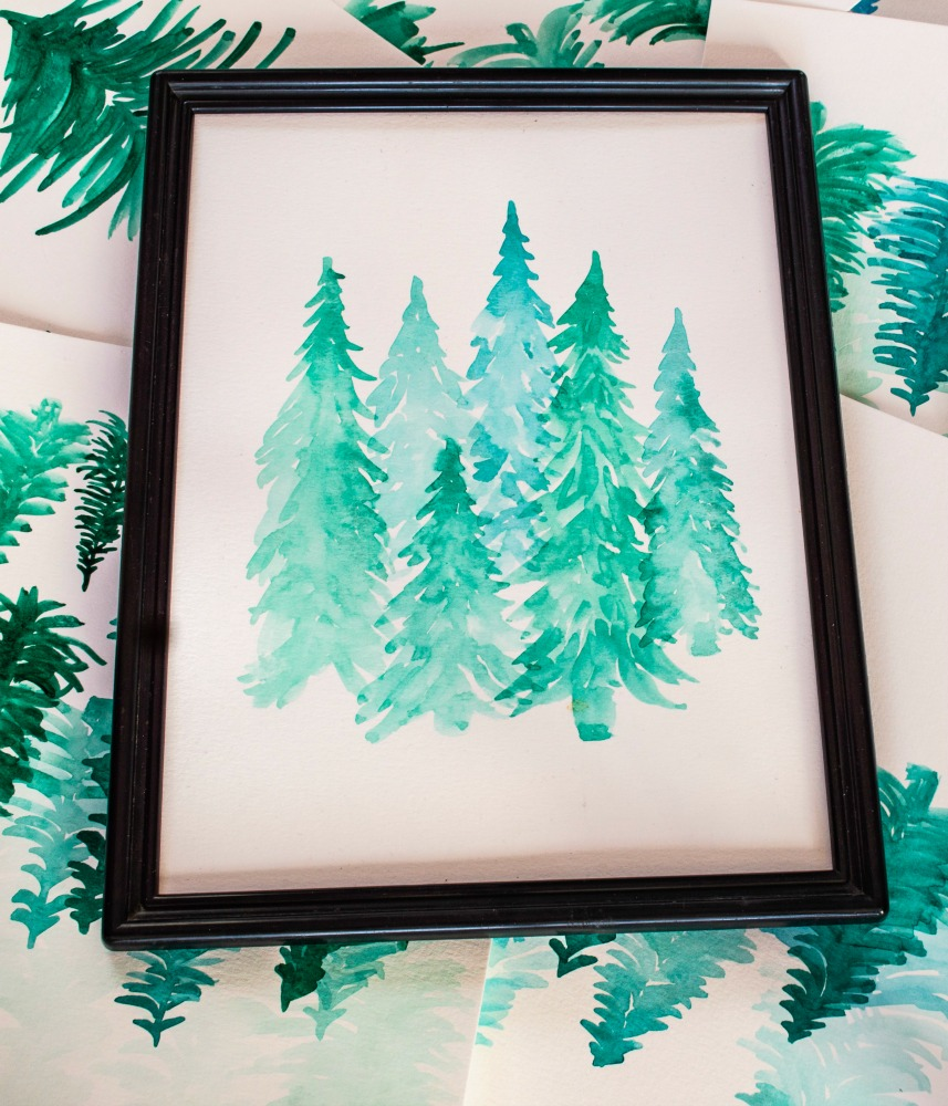 Simple Watercolor Painting - A pretty Pine Forest