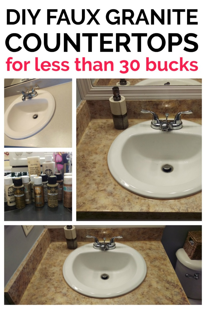 Faux Granite Countertops that you can DIY for that Spa vibe in your bathroom!